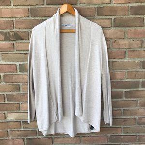 Zara Knit Cream Heathered Open Cardigan Sweater L